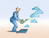 Danandet av ett moln vektor illustrationer