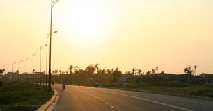 Danang Beach, Vietnam. Main road along Danang Beach at Sunset, Central Vietnam Stock Image