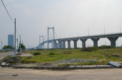 Đà Nẵng bridge. North of Danang an area of land lies waiting for development Royalty Free Stock Image
