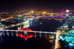 Danang city at night Stock Photography