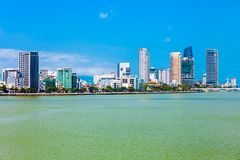Danang city skyline aerial view. Da Nang city centre skyline aerial panoramic view. Danang is the fourth largest city in Vietnam royalty free stock images