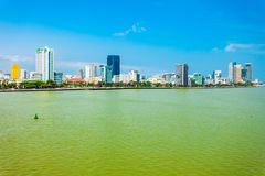 Danang city skyline aerial view. Da Nang city centre skyline aerial panoramic view. Danang is the fourth largest city in Vietnam royalty free stock photography