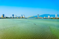 Danang city skyline aerial view. Da Nang city centre skyline aerial panoramic view. Danang is the fourth largest city in Vietnam stock photo
