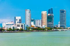 Danang city skyline aerial view. Da Nang city centre skyline aerial panoramic view. Danang is the fourth largest city in Vietnam royalty free stock photos