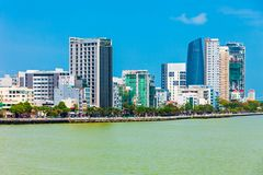 Danang city skyline aerial view. Da Nang city centre skyline aerial panoramic view. Danang is the fourth largest city in Vietnam stock image
