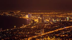 Danang downtown night view. The coastal city in central Vietnam, Asia. Time lapse video stock footage