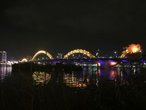 Danang Dragon Bridge Cau Rong. In city Royalty Free Stock Photography