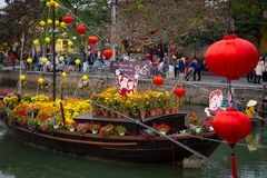 Danang Province, Hoi-An Vietnamese Lantern Festival. Float. 2016 royalty free stock photo