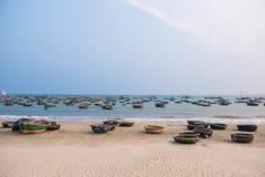 Danang, Vietnam Mar 15:: Vietnamese fishing boat at My Khe Beach Stock Photos
