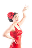 Dançarino bonito do flamenco no vestido vermelho Imagem de Stock Royalty Free