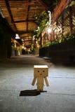 Danbo está caminando solamente en la noche Fotos de archivo libres de regalías