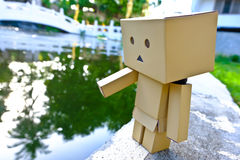 Danboard or Danbo Figure in the garden. Danboard, Danbo first appeared in chapter 28 of the manga, first issued in April 2006. Yotsuba Koiwai's friend Miura Stock Images