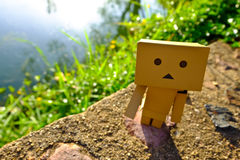 Danboard or Danbo Figure in the garden. Danboard, Danbo first appeared in chapter 28 of the manga, first issued in April 2006. Yotsuba Koiwai`s friend Miura Royalty Free Stock Photography