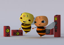 Dance. Two bees dance on the dance floor stock illustration