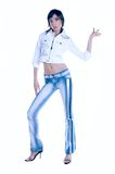 Dance. Young girl dancing in fancy jacket and jeans Royalty Free Stock Image