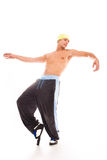 Dance. Awesome man dancing in studio on white background royalty free stock images