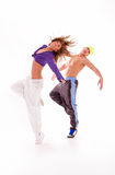 Dance. Couple of dancers on white background Stock Images