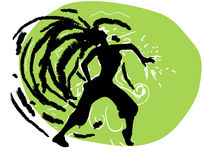 Dance 2. It is the Vector illustration. A silhouette of the dancing girl on a green background Stock Photos