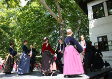 """Dance. In the event named:Under the crowns of Topcider's plane trees,in September 2011.,National artistic assembly """"Kolo"""" performs on stage musical depicts Stock Image"""