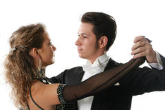 Dance. The young woman and the man dancing ballroom dance Royalty Free Stock Photos