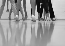 Dance. Class shot from the floor giving unique view stock photos