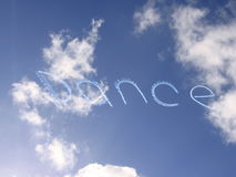 Dance. Written into the sky by a plane Stock Photography