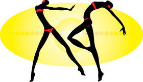Dance. Vector image of two dancing people Stock Photo