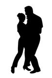 Dance. Black silhouette of dancing couple Royalty Free Stock Photos