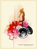 Dance!. Floral music composition with speakers and dancing girl Royalty Free Stock Images