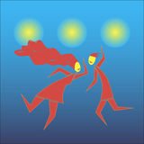 Dance. Abstract picture of young couples dancing modern types of dances Stock Illustration