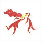 Dance. Abstract picture of young couples dancing modern types of dances Royalty Free Stock Images
