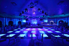 Dance area in Cosmodrome complex. MOSCOW - OCTOBER 29: Dance area in Cosmodrome complex on October 29, 2011 in Moscow, Russia. Dance floor of complex is designed Royalty Free Stock Image