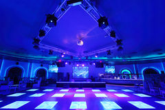 Dance area with lighting floorin Cosmodrome. MOSCOW - OCTOBER 29: Dance area with lighting floorin Cosmodrome complex on October 29, 2011 in Moscow, Russia Stock Images