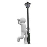Dance aroun lantern. A 3D character dancing happily around a lantern Stock Image
