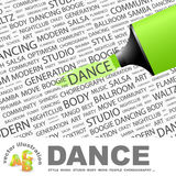 DANCE. Background concept wordcloud illustration. Print concept word cloud. Graphic collage Royalty Free Stock Image