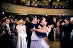 Dance in the ball. KIEV, UKRAINE - MAR 14: Kyiv's 4th Annual Vienna (Viennese) Ball in National Opera of Ukraine. the Vienna Ball, attended by more than 2,000 Stock Photography
