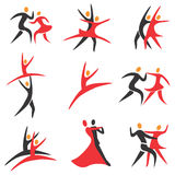 Dance_ballet_icons. Set of  ballroom, disco, ballet, modren dance colorful icons Stock Photography