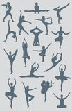 Dance Ballet Yoga Figures. A vector illustration created in Adobe Illustrator of several yoga, dance, ballet and gymnastic figures Royalty Free Stock Images
