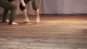 Dance barefoot on stage stock footage