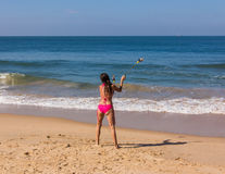 Dance at the beach of Goa stock photo