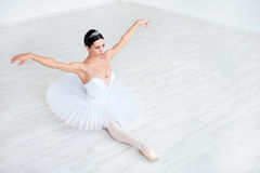 Dance. Beautiful young ballerina in pointe royalty free stock photography