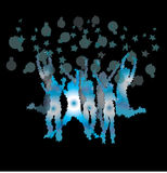 Dance on black. Gradient background and forming bubbles Stock Images