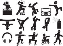 Dance. Breakdancers and Hiphop dance in the party icon set vector illustration