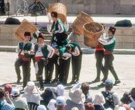 Dance builders rose petals at the festival in Karlovo, Bulgaria Stock Image
