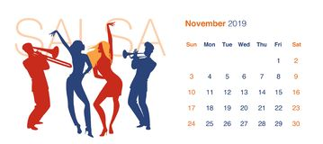 2019 Dance Calendar. November. Silhouettes of two girls dancing salsa. To the rhythm of a trumpeter and a trombonist, isolated on white background vector illustration