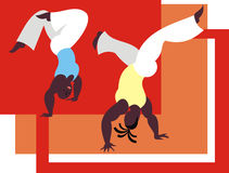 The dance capoeira. The fighters of the national Brazilian martial art capoeira Stock Image