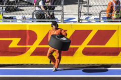 Dance celebrate the opening of the first Grand Prix of Russia. Sochi, Russia -12 November 2014 : Formula One, Russian Grand Prix, Sochi autodrom , 16 stage Stock Photos