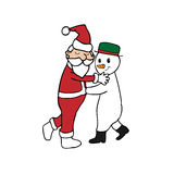 Dance Christmas Santa and Snowman Royalty Free Stock Images