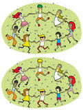 Dance Circle Differences Visual Game. For children. Illustration is in eps8  mode! Task: Find 10 Differences! Solution is in hidden layer Royalty Free Stock Photography