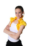 Dance class. Girl isolated on white dancing in her dance outfit royalty free stock photos
